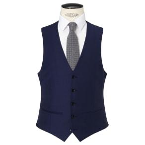 John Lewis & Partners Sharkskin Super 120s Wool Regular Fit Waistcoat, Blue