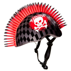 Raskullz 3D Skull Hawk Child Helmet - Black/Red