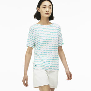 "Lacoste Women's Crew Neck Flowing Jersey ""Les Sportives"" Print T-Shi - White"