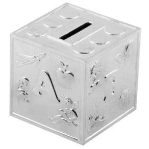 Bambino Silver Plated Abc Cube Money Box, Silver