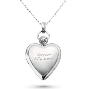 Platinum Over Sterling Heart Locket With Diamond Accents, In Silver, Front Engraving, Silver/Metal/Satin, By Things Remembered