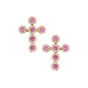Child's Pink Cubic Zirconia Cross Earrings in 14k Yellow Gold