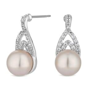 Jon Richard - Silver Pave Crystal And Pearl Drop Earrings