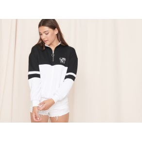 Garage  Mock Neck Zip Pullover Sweatshirt Jet Black/White