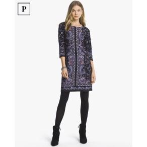 Women's Petite 3/4-Sleeve Paisley Print Knit Shift Dress by White House Black Market