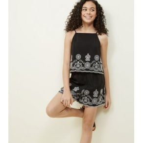 c428ad867c Teens Black Floral Embroidered Layered Playsuit New Look