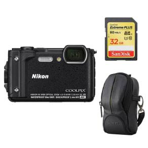 Nikon Coolpix W300 Tough Compact Camera, Swcom13 Camera Case & 32 Gb Memory Card - Black, Black