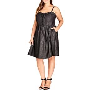 Plus Size Women's City Chic Sweet Feels Dress, Size X-Small - Black