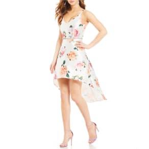 Midnight Doll Floral-Print High-Low Dress