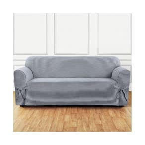 Sure Fit Horizontal Club Stripe One-Piece Straight Skirt With Cord Sofa Slipcover Bedding