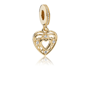 Pandora Romantic Heart Pendant Charm - Yellow Gold 14 Ct