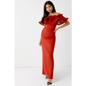 Lipsy Oversized Ruffle Bodycon Dress - 4 - Red