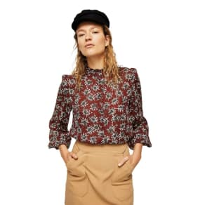 Mango Dark Red Floral Print 'Lazos' High Neck Top