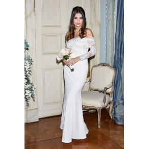 Aria White Bardot Long Sleeve Bridal Dress
