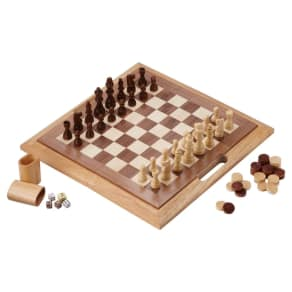 Mainstreet Classics 3-In-1 Wood Game - Chess - Checkers - Backgammon