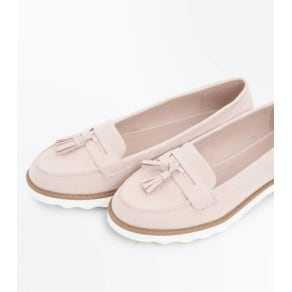 Pink Suedette Tassel Chunky Loafers New Look