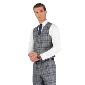 """Designed in Biella Lyric Slim Fit Waistcoat in Grey Check"""