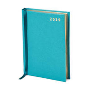 2019 A6 Day to Page Leather Diary in Turquoise Saffiano