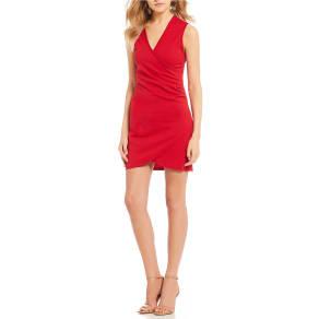 Midnight Doll V-Neck Faux Wrap Dress