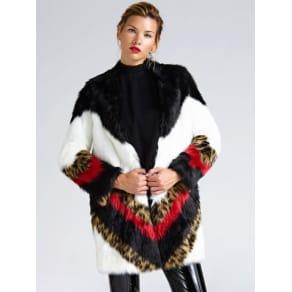 Guess Animalier Detail Faux Fur Coat