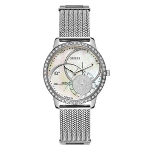 Guess Ladies Stainless Steel Iq+ Fitness Watch, Silver
