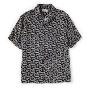 Caribbean Fish Print Rayon Short-Sleeve Woven Shirt