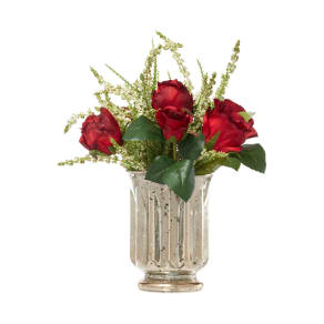 Linea Red Roses And Heather In Gold Vase, Gold