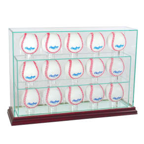 Perfect Cases 15 Baseball Upright Display Case With Cherry Finish