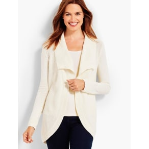 Talbots Women's Wing Collar Waffle Stitched Cocoon Cardigan