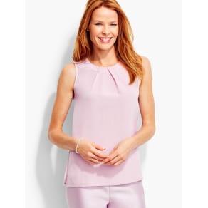 Talbots Women's Pleat Front Silk Shell