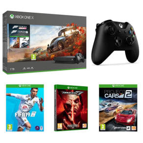 Microsoft Xbox One X With Forza Horizons 4, Forza Motorsport 7 Tekken 7, Fifa 19, Project Cars 2 & Wireless Controller