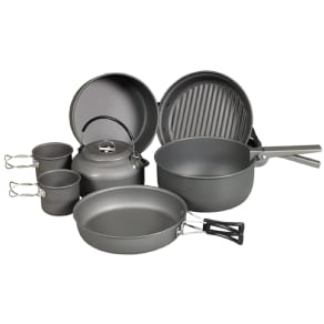 Ndur 9 Piece Cookware Mess Kit With Kettle, Silver