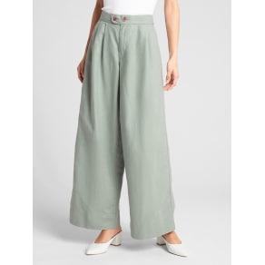 0430a19ac979 Gap Womens High Rise Wide-Leg Pants in Linen-Cotton Desert Sage Size UK