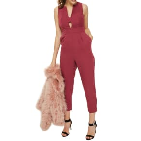 Women's Topshop Amber Open Front Jumpsuit, Size 8 US (Fits Like 6-8) - Red
