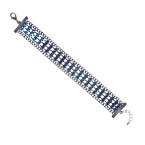 Mood Blue Stone Embellished Panelled Bracelet