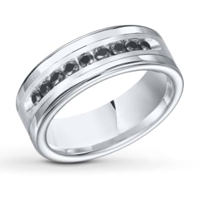 Women's 8mm Band 1/2 Cttw Black Diamonds White Tungsten Carbide