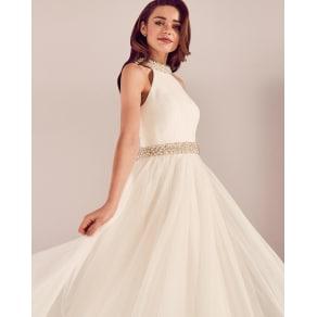 Embellished Tulle Bridal Dress White
