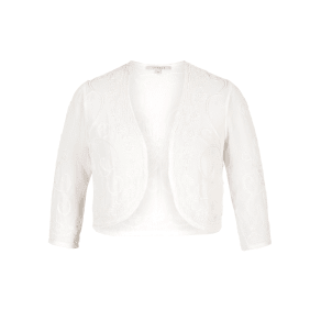 Chesca Embroidered and Beaded Bridal Bolero, White