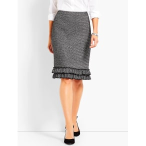 Talbots Women's Metallic Tweed Ruffle Hem Pencil Skirt