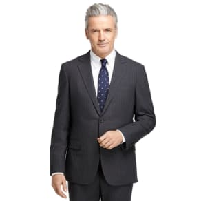 Brookscool Fitzgerald Fit Charcoal With Blue and White Alternating Stripe Suit