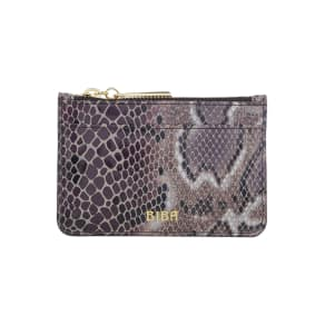 Biba Zip Top Coin Leather Purse, Grey
