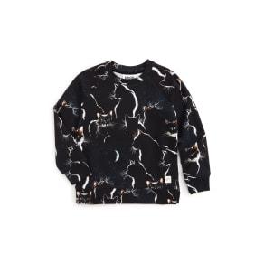 Girl's Molo Marina Moon Cats Sweatshirt, Size 5Y / 110 cm - Black