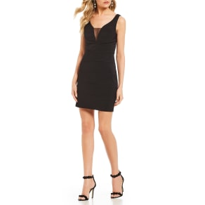 Midnight Doll Plunging-V-Neck Bodycon Dress