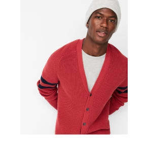 Express Mens Striped Sleeve V-Neck Cotton Cardigan