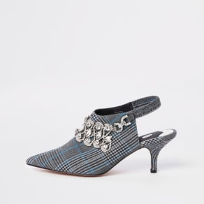 Womens Grey Check Diamante Sling Back Court Shoes