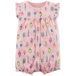 Carter's Ice Cream-Print Cotton Romper, Baby Girls
