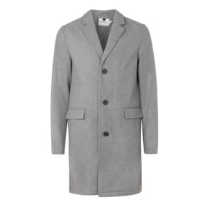 Mens Grey Wool Blend Overcoat, Grey