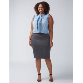 Lane Bryant Women's Pencil Skirt With Faux Leather Piping 28 Black