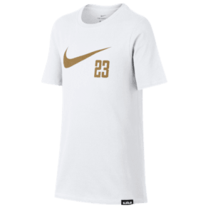 Boys Lebron James Nike Lebron 23 Swoosh Short Sleeve T-Shirt - Grade School - White/Gold
