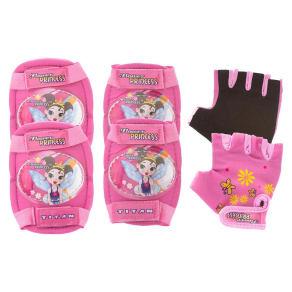 Titan Flower Princess Girls Elbow, Wrist, and Knee Pad Set for Bmx or Skate, Pink